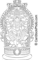 Indian god Ganesha with an elephant head on the throne.
