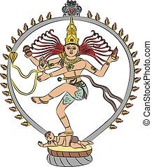 vector goddess Kali - Indian goddess Kali dancing isolated...