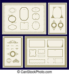 Vector Gold and Blue Frame Set