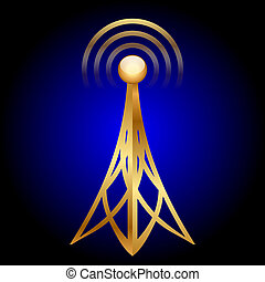 antenna icon on blue background