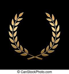 Vector gold award laurel wreath. Winner label, leaf symbol...