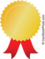 Vector gold award token on white background