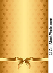 gold background with hearts and bow - Vector gold background...