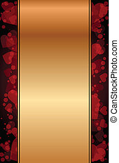 gold background with red hearts