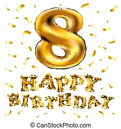 vector gold balloon font number 8 made of realistic helium 3d illustration with Clipping Path ready to use. For your unique balloon number decoration; Christmas, New year & several occasion