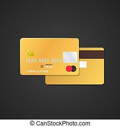 vector gold bank card mockup