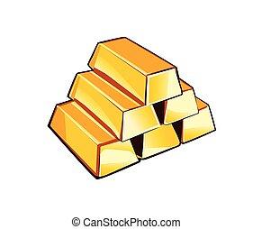 Shiny gold bars isolated on white background