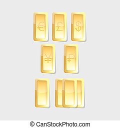 vector gold bars with symbols of world  currency