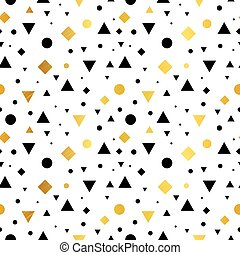 Vector Gold, Black and White Vintage Geometric Shapes Seamless Repeat Pattern Background. Perfect For Fabric, Packaging, Invitations, Wallpaper, Scrapbooking.