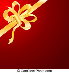 Vector gold bow, ribbon