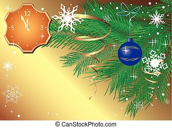 vector gold christmas card with clock