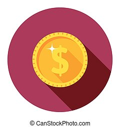 Vector gold coin. dollar