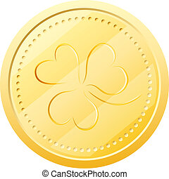 Vector gold coin with clover