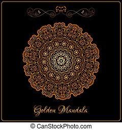 Vector Gold Color Indian Mandala over black background