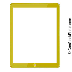 Vector gold computer tablet isolated on white