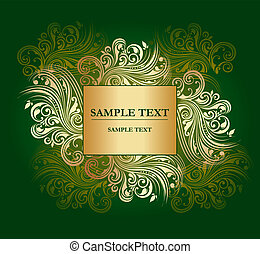 Vector gold curly pattern with plac