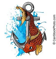 Vector - Gold Fish, Carassius Auratus, Fresh Water Aquarium ...