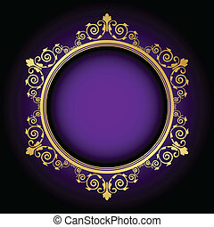 floral frame on purple background