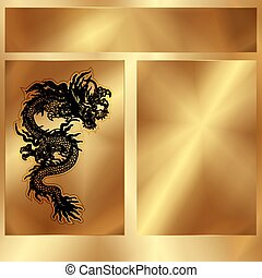 gold frame with a Chinese dragon