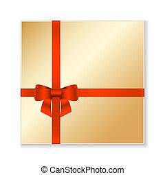 Vector gold gift box.