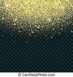 Vector gold glitter background. Star dust sparks transparent background