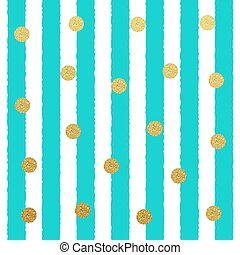 Vector Gold glitter dots seamless pattern with stripe background
