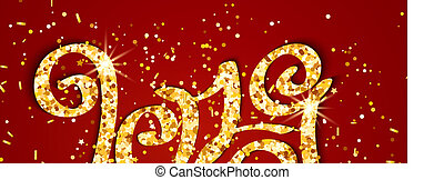 Vector gold glitter inscription 2019 year on background.