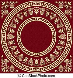 set Traditional vintage golden square and round Greek ornament (Meander) and floral pattern on a red background
