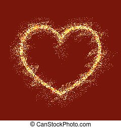 Vector gold heart on red background