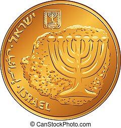 Vector Gold Israeli money ten agorot coin