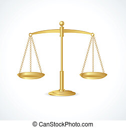 Vector Gold justice scales isolated on white