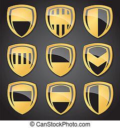 Vector Gold Labels plate Set.