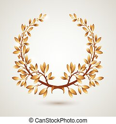 Vector gold laurel wreath. Leaves pattern. EPS 10