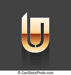 Vector Gold Letter U Shape Logo Element on Dark Background