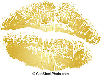 Vector gold lipstick kiss