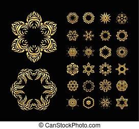 Vector gold mandala set