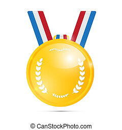 Vector Gold Medal, Award Isolated on White Background