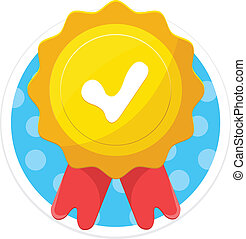 Vector Gold Medal Flat Round Icon