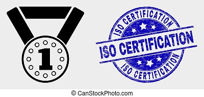 Vector Gold Medal Icon and Distress ISO Certification Watermark
