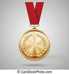 Vector gold medal on red ribbon with relief detail of laurel...