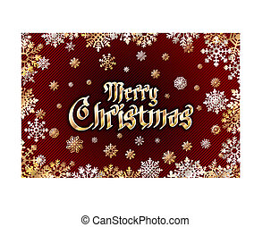 vector gold merry christmas Holiday greeting with snowflake background red