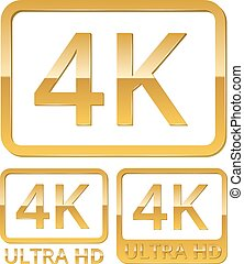 Vector gold metall Ultra HD 4K icons set