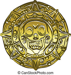 vector gold Money pirate coin with a skull - gold Money...