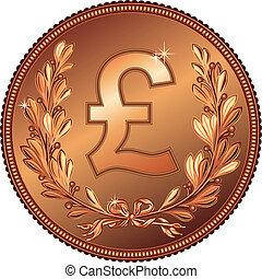vector gold Money Pound coin