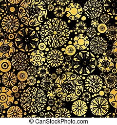 Vector Gold on Black Abstract Doodle Circles Seamless ...