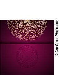 Vector gold oriental arabesque pattern background with place for text