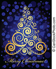 Vector gold ornate Christmas tree