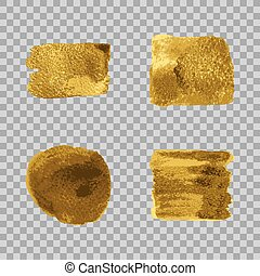 Vector gold paint smear stroke stain set on transparent gray...