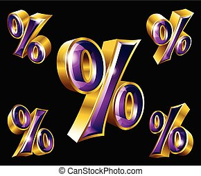 Vector gold percent sign in 3D style