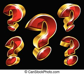 Vector gold question mark symbols in 3D style - Vector...